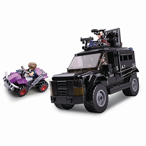 Funstones Baustein Polizei Auto Fahrzeug SWAT Truck + Figur + Gangster Auto + Mänchen (Polizei Lego Truck)