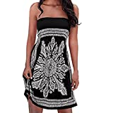 Shinekoo Damen Sommer Bandeau Schulterfrei Flora Muster bunt Boho-Stil Casual Mini Strandkleider Neckholder Kleid