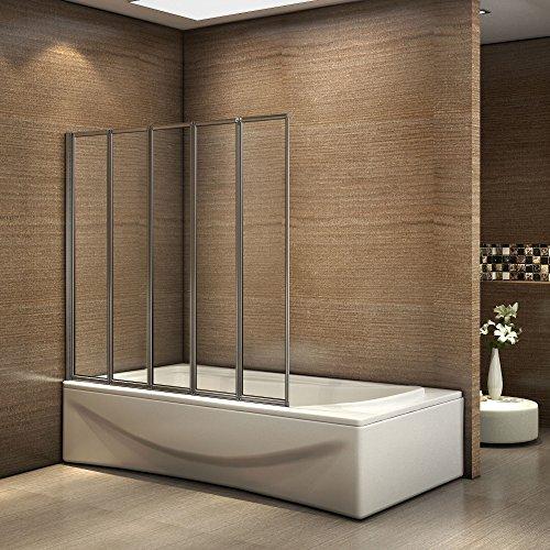 faltbare duschwand fuer badewanne Badewannenaufsatz Duschabtrennung 120x140cm 5-teilig Duschwand für Badewanne Faltbar ESG Sicherheitsglas