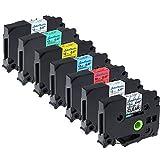 7x laminiertes Etikettenband kompatible Brother Tz-131-931 schwarz auf transparent