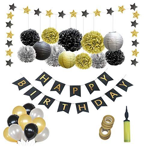 Happy Moment decoration Deko Geburtstag Geburtstagsdeko,Geburtstag deko,Premiumqualität Schwarzes Silber und Gold für Mann/Frauen