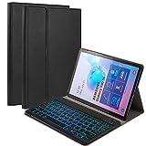 Happon Funda de Teclado para Samsung Galaxy Samsung Galaxy Tab s6 sm-t860 t865 Tableta Bluetooth Teclado retroiluminado Colorido con Funda de Cuero con patrón de mijo (español) -Negro