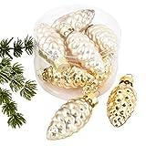 Weihnachtskugel Zapfen Premium 8er Set Glas 5x2x2cm Xmas Baumschmuck (Gold)