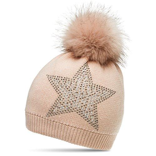 CASPAR MU159 Damen Fein Strick Winter Mütze mit Fellbommel und Glitzer Strass Stern, Farbe:rosa;Größe:One Size
