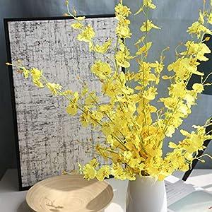 smartrich flores artificiales, orquídeas artificiales de falaenopsis imitación de cebra para decoración de boda, tela, Blanco, 100 cm