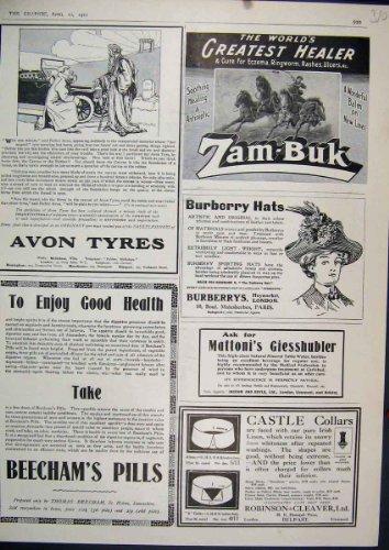 Original old antique victorian print 1911 pneumatico di avon dei cappelli di burbery delle pillole di beecham dell'annuncio