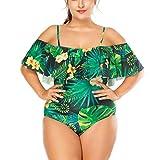 Loolik Mujer Traje de Baño de Una Pieza Tamaño Grande Flounced de Verde Ropa de Baño Sexy Bañador (Verde,XXXXL)