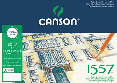 Canson 204127416 1557 Zeichen-und Skizzenpapier, A2, rein weiß