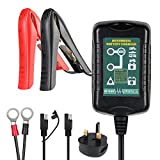 Batterie Ladegerät Auto, URAQT 1.5A 6V/12V Batterieladegerät Auto Erhaltungsladegerät mit Mehrfachschutz für Auto, Motorrad, Rasenmäher, Schneemobile