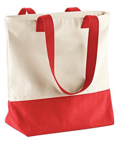 Bagbase Westcove Tela Borsa donna elegante cotone lavoro da viaggio spalla borsa Natural/ Coral