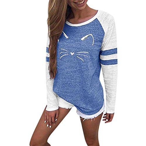 MORCHAN Femmes Dames Chat Impression T-Shirt à Manches Longues Tops Blouse(Bleu,FR-42/CN-XL)