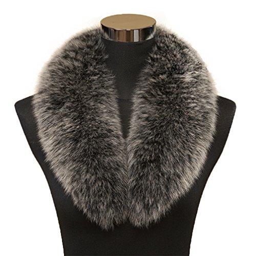 Ollebobo vera pelliccia fazzoletto da collo donna sciarpa volpe elegante fodera lunghezza 100cm nero grigio