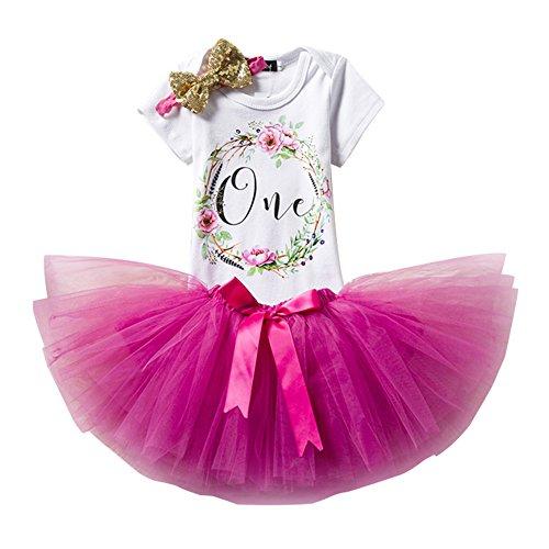 3pcs Geburtstag Kleider Für Mädchen Baby Tutu-Kleid Stirnband +T-Shirt Strampler + Rock Tutu Bowknot/Rose/1Jahr (Kleinkind Kleid Passt)