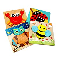 Lidasen Wooden Puzzles for Toddlers- ( 4 Pack) Jigsaw Puzzles Games, Durable Wooden Construction Puzzle Set, Animal Puzzles Educational Toys for 1 2 3 Years Old Boys& Girls