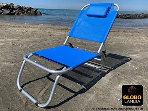 Globolandia srl spiaggina blu a 3 posizioni in alluminio e textilene 685974 con cuscino, 3 cinghie elastiche