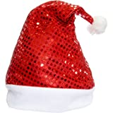 2 PCs Christmas Hats, Santa Claus Caps For Kids And Adults, Free Size, XMAS Caps (Glitter)