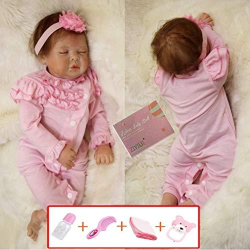 ZIYIUI 55 cm 22 Pulgadas Muñeca Bebes Reborn Silicona Blanda Reborn Muñecos Bebé Recién Nacido Hecho a Mano Regalo de Juguete Baby Doll Bebe Reborn niña Ojos Cerrados