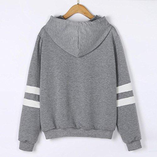 Sweatshirt Capuche Femme, Bonjouree Pull Femme imprimé Licorne Blanc Sweat Manches Longues Tops Gris D