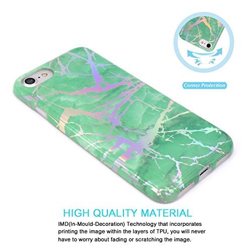 iPhone 7 Hülle, iPhone 8 Hülle, JIAXIUFEN Glänzend Rose Gold Gray Marmor Design Soft TPU Silikon Schutz Handy Hülle Handytasche HandyHülle Case Cover Schutzhülle für Apple iPhone 7 /iPhone 8 Shiny Change Green
