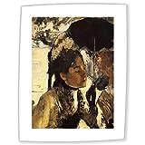 JH Lacrocon Edgar Degas - Die Tuilerien, Die Frau mit Regenschirm Leinwandbilder Reproduktionen Gerollte 45X60cm - Figürlich Gemälde Komplett Texturiert 3D Gedruckt Wandkunst