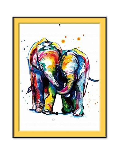 FastDirect 30x40CM Moderno Cuadro sin Marco Elefantes Multicolores Lienzo Pared Pintura Arte...