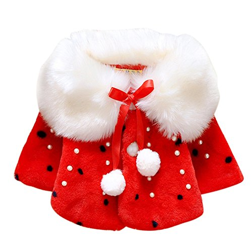 Brightup Baby Mädchen Faux Pelz Warm Winter Cape Cloak Mantel Outwear (Faux Pelz Jacke)