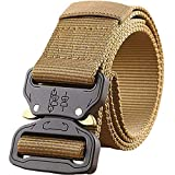 GUSTAVE Men's Tactical Belt Nylon Military Style Webbing Belt with Metal Buckle Brown