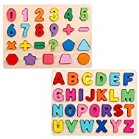 Demarkt 2 Piece Puzzle Set Wooden Alphabet ABC Numbers Educational Puzzles for Kid Toddler Boys Girls