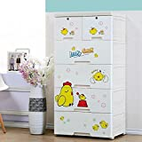 TheTickleToe DIY 5 Layers Thickened Fiber Plastic Cartoon Chest Of Drawers For Kids -Two Locks, White