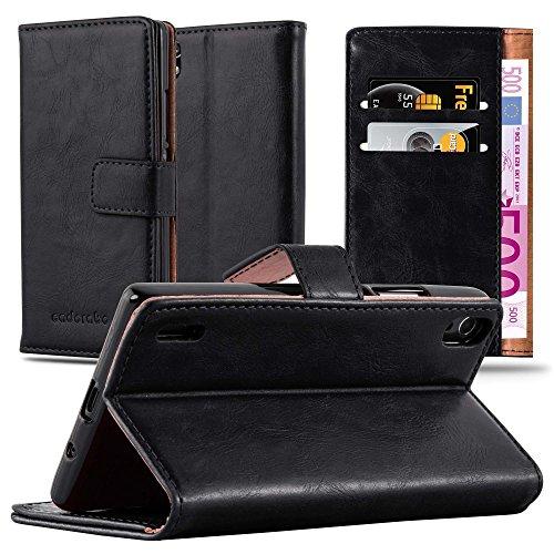 Preisvergleich Produktbild Cadorabo Hülle für Huawei P7 - Hülle in Graphit SCHWARZ – Handyhülle im Luxury Design mit Kartenfach und Standfunktion - Case Cover Schutzhülle Etui Tasche Book