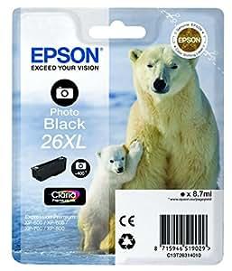 Epson Original T2631 Tintenpatrone Eisbär XL, Singlepack Foto schwarz