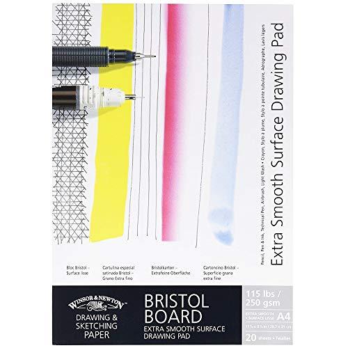Winsor & newton - blocco da disegno extra liscio, 20 fogli, formato 250 g/m², din a3