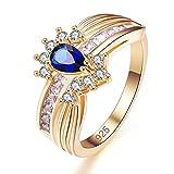 Yazilind blau Teardrop Zirkonia Ringe vergoldet Intarsien Strass Engagement für Damen Größe 18.1
