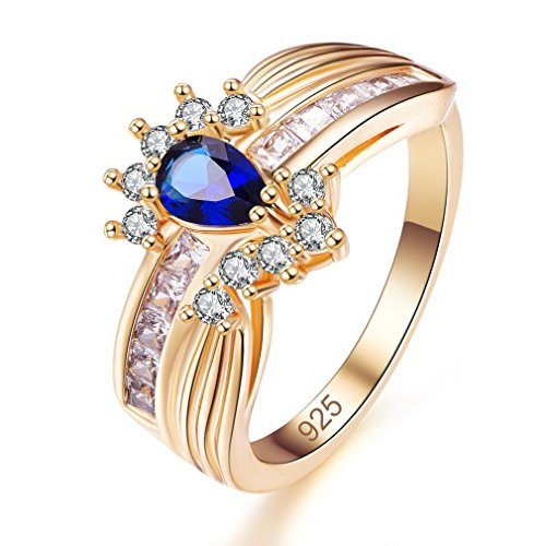 Yazilind blau Teardrop Zirkonia Ringe vergoldet Intarsien Strass Engagement für Damen Größe 18.1 - Amethyst Teardrop Ringe