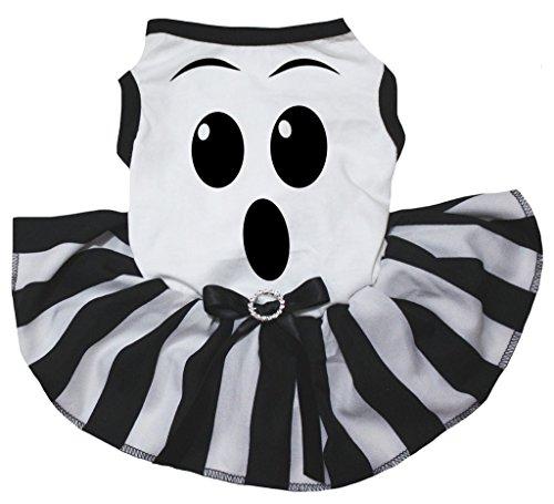 petitebelle Puppy Kleidung Hund Kleid Ghost Face weiß TOP Schwarz Weiß Tutu (Tutu Kleid Ghost)
