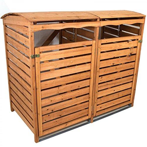 *Mülltonnenverkleidung mit Rückwand 2 Mülltonnen 240l Mülltonnenbox Holz Müllcontainer Mülltonnenschrank*