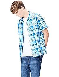 FIND Men's Bright Check Resort Collar Short Sleeve Shirt