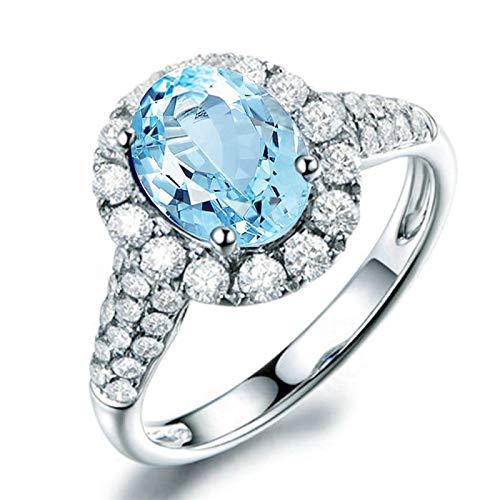 3b05413769d7 Blisfille Anillos Mujer Oro y Diamante Joyería Anillo Oro Blanco Mujer  Diamantes Halo Anillos de Boda Plata de Ley Anillos de Bo