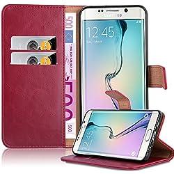 Cadorabo Coque pour Samsung Galaxy S6 Edge Plus en Rouge Cerise - Housse Protection avec Fermoire Magnétique, Stand Horizontal et Fente Carte - Portefeuille Etui Poche Folio Case Cover