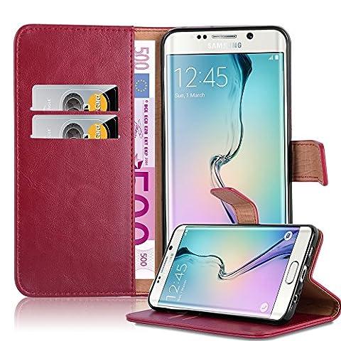 Cadorabo - Luxury Etui Housse pour Samsung Galaxy S6 EDGE PLUS (G928F) Portefeuille (stand horizontale et fentes pour cartes) - Coque Case Cover Bumper Portefeuille en ROUGE