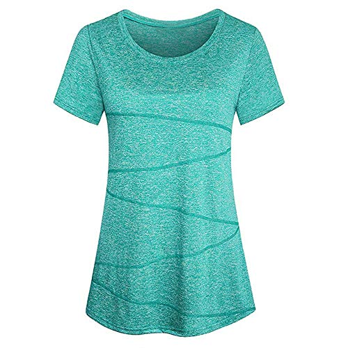 Kobay Sportshirt Damen Kurzarm Locker Bluse Yoga Oberteile Activewear Running Workout T-Shirt(XL,Grün)