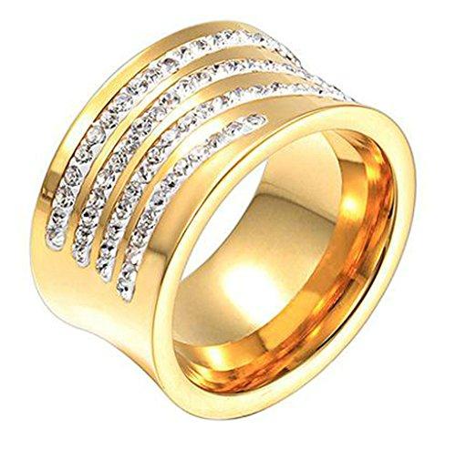 AMDXD Damen-Ringe 18K Vergodet Zirkonia Gold Elegante Frauen Ring Gr.57 (18.1)