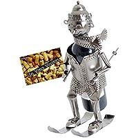 BRUBAKER Flaschenhalter Skifahrer Metall Skulptur Geschenk mit Geschenkkarte