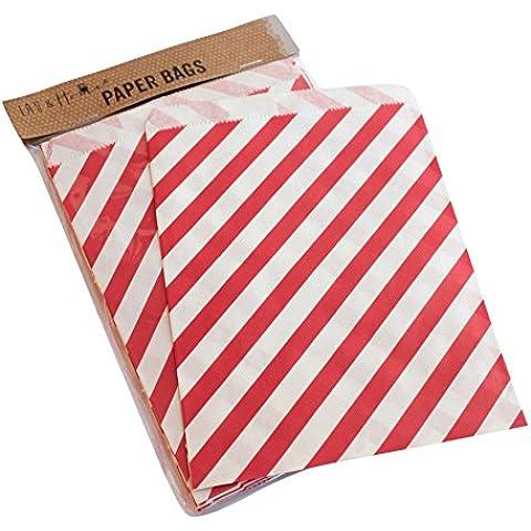 Sacchetto di carta a righe party 25 / caramelle dolci regalo, 13x18cm - Rosso