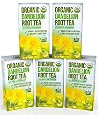 Dandelion Root Tea - Raw Organic Vitamin Rich Digestive - 5 pack (100 Bags 2 grams each)