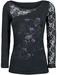 Spiral Entwined Skull Manches Longues Femme noir