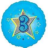 Folienballon Zahl 3 Geburtstag Junge blau Stern mit Ballongas gefüllt Holographic 45cm