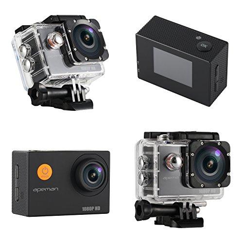 APEMAN-Action-Cam-Full-HD-1080P-Impermeabile-Action-Sport-Camera-2-x-1050mAh-Batterie-170Grandangolare-e-Kit-Accessori-per-Ciclismo-Nuoto-e-altri-Sport-Esterni-Nero