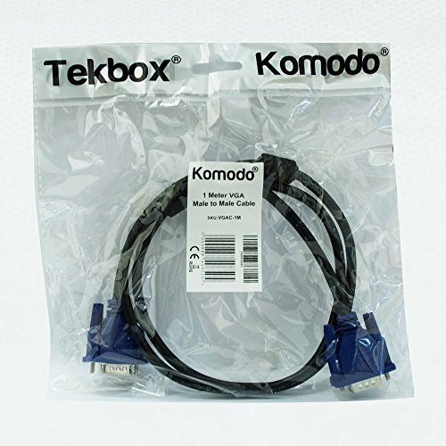 Komodo VGA PC Monitor Cable Replacement SVGA Lead Male to Male 15 Pin For PC Laptop Computer Mac to LCD TFT Monitor show 1m