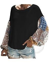 Primavera y Otoño Mujeres Jerséis Casual Cuello Redondo Suéter Prendas de Punto Tops Moda Impresión Costura